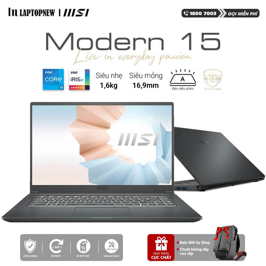 Laptop MSI Modern 15 A11M 200VN (Gray)   i5-1135G7 Gen 11th   8GB DDR4   SSD 512GB PCIe   VGA Onboard   15.6 FHD IPS   Win10.