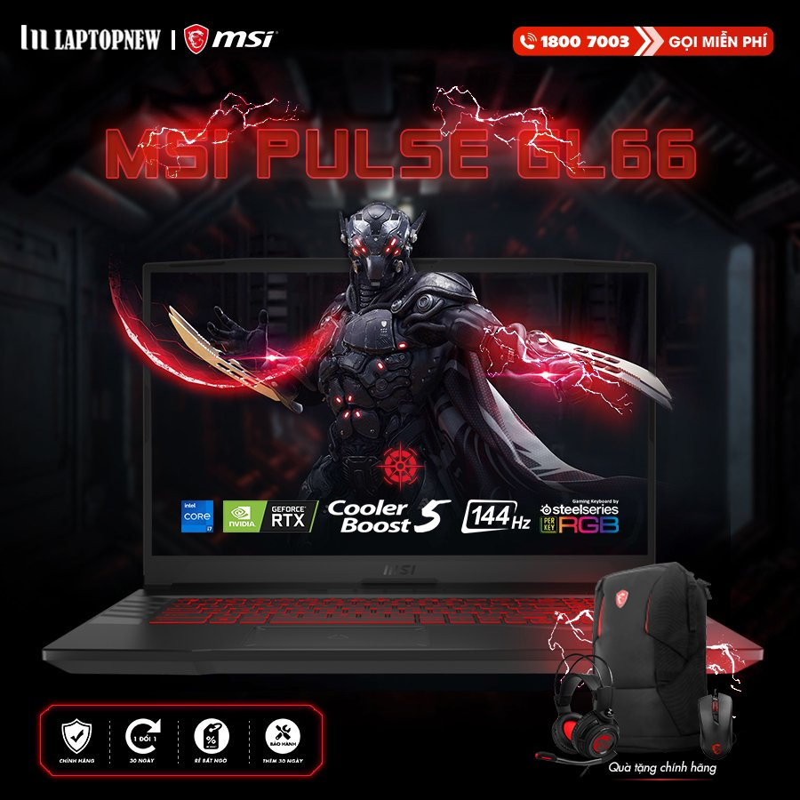 <strong>[MỚI VỀ + QUÀ CHÍNH HÃNG]</strong> LAPTOP MSI PULSE GL66 11UDK - 255VN | i7-11800H Gen 11th | 16GB DDR4 | SSD 512GB PCIe | VGA RTX 3050Ti 4GB | 15.6 FHD IPS 144Hz | Win10.