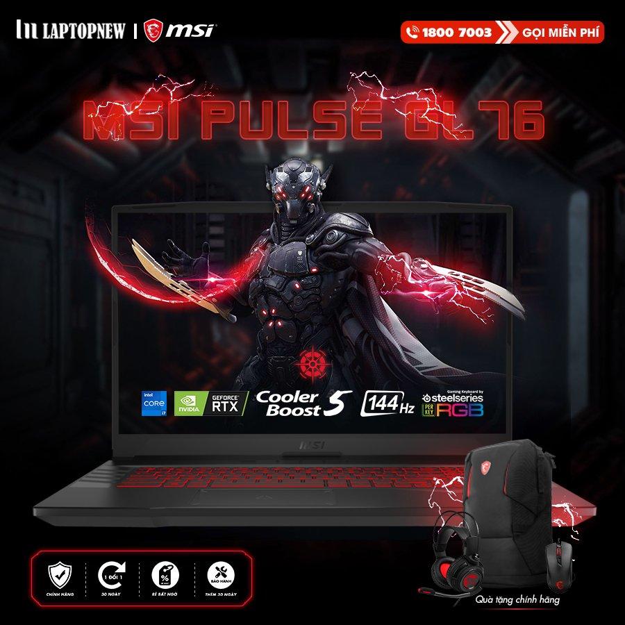 LAPTOP MSI PULSE GL76 11UEK - 048VN | i7-11800H Gen 11th | 16GB DDR4 | SSD 1TB PCIe | VGA RTX 3060 6GB | 17.3 FHD IPS 144Hz | Win10.