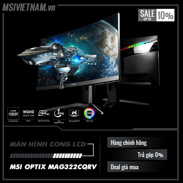 Màn hình LCD MSI OPTIX MAG322CQRV (Spec: 32inch Siêu Cong, 2K pixel, 144Hz 1ms, 115% sRGB, LED RGB)