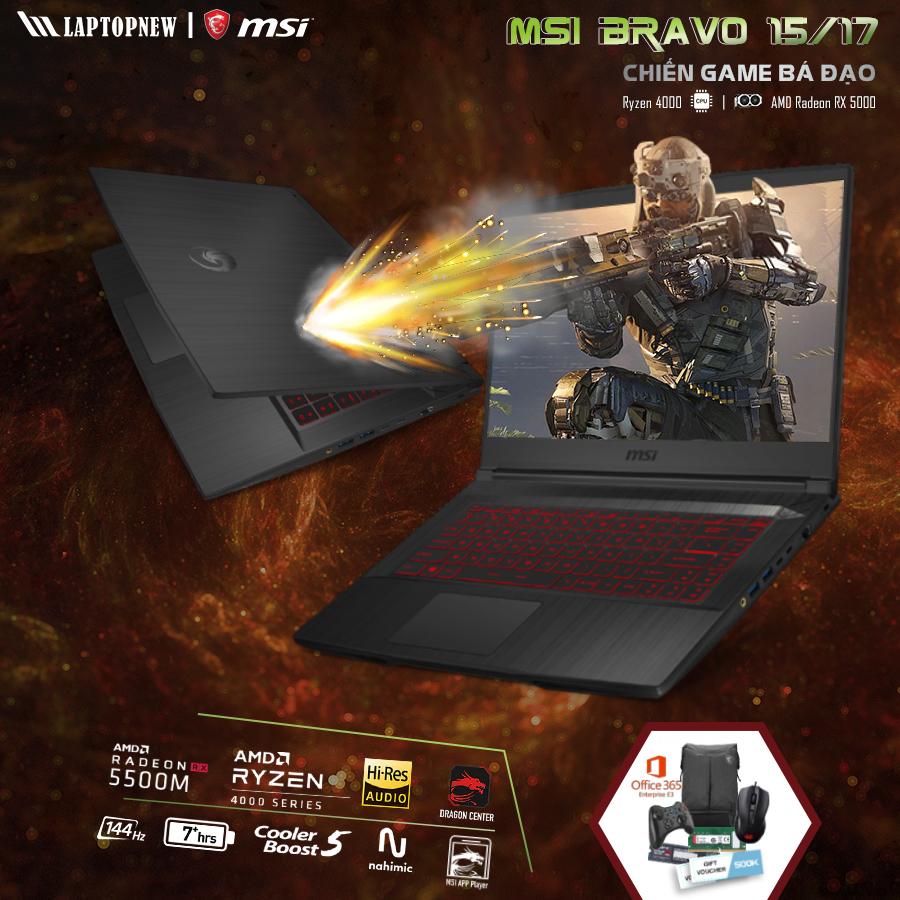 LAPTOP MSI Bravo 17 A4DDR - 200VN | R5-4600H | 16GB DDR4 | SSD 512GB PCIe | VGA Radeon™ RX5500M 4GB | 17.3 FHD IPS 144Hz | Win10.