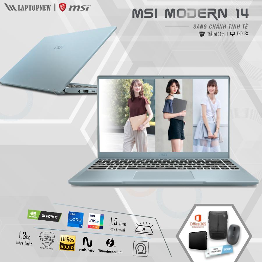 LAPTOP MSI Modern 14 B11MO - 010VN (Blue Stone)   i7-1165G7 Gen 11th   8GB DDR4   SSD 512GB PCIe   VGA Onboard   14.1 FHD IPS   Win10.