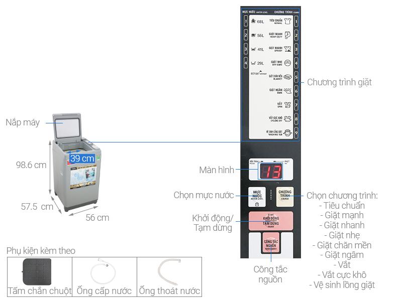 Máy giặt Aqua AQW-S90CT 9 Kg