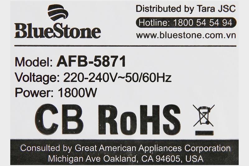 Nồi chiên không dầu Bluestone AFB-5871 5.5 lít