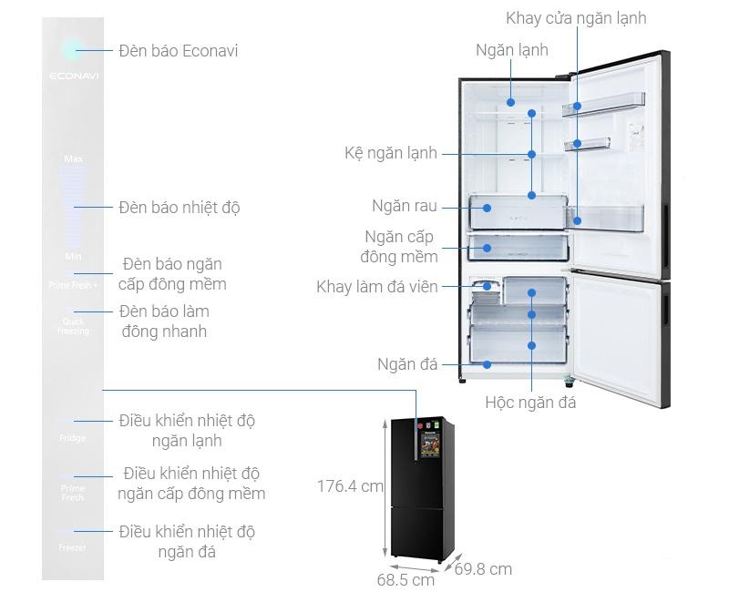 Tủ lạnh Panasonic NR-BX460GKVN Inverter 410 Lít