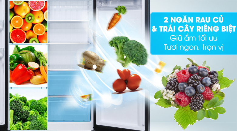 Tủ lạnh Aqua AQR-I565AS(BS) Inverter 510 lít