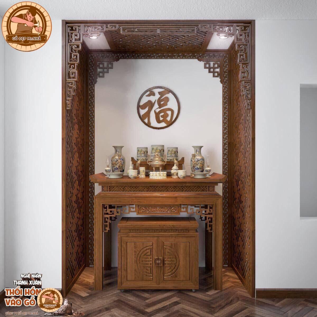 Mẫu bàn thờ đi kèm tủ cơm có vách ngăn ám khói