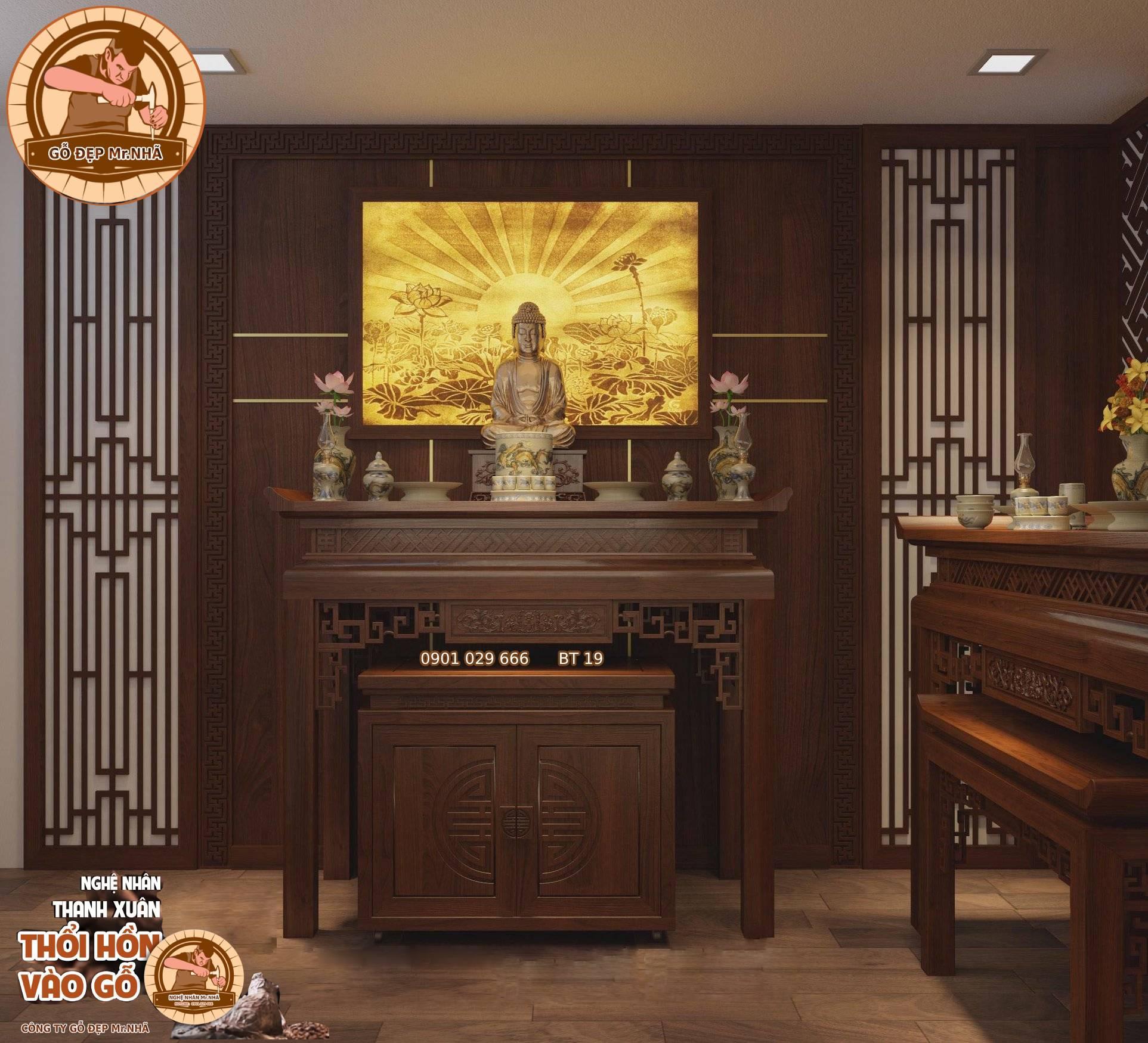 Bàn Thờ Gỗ Sồi BT 19 - Mẫu bàn thờ Đại Phát
