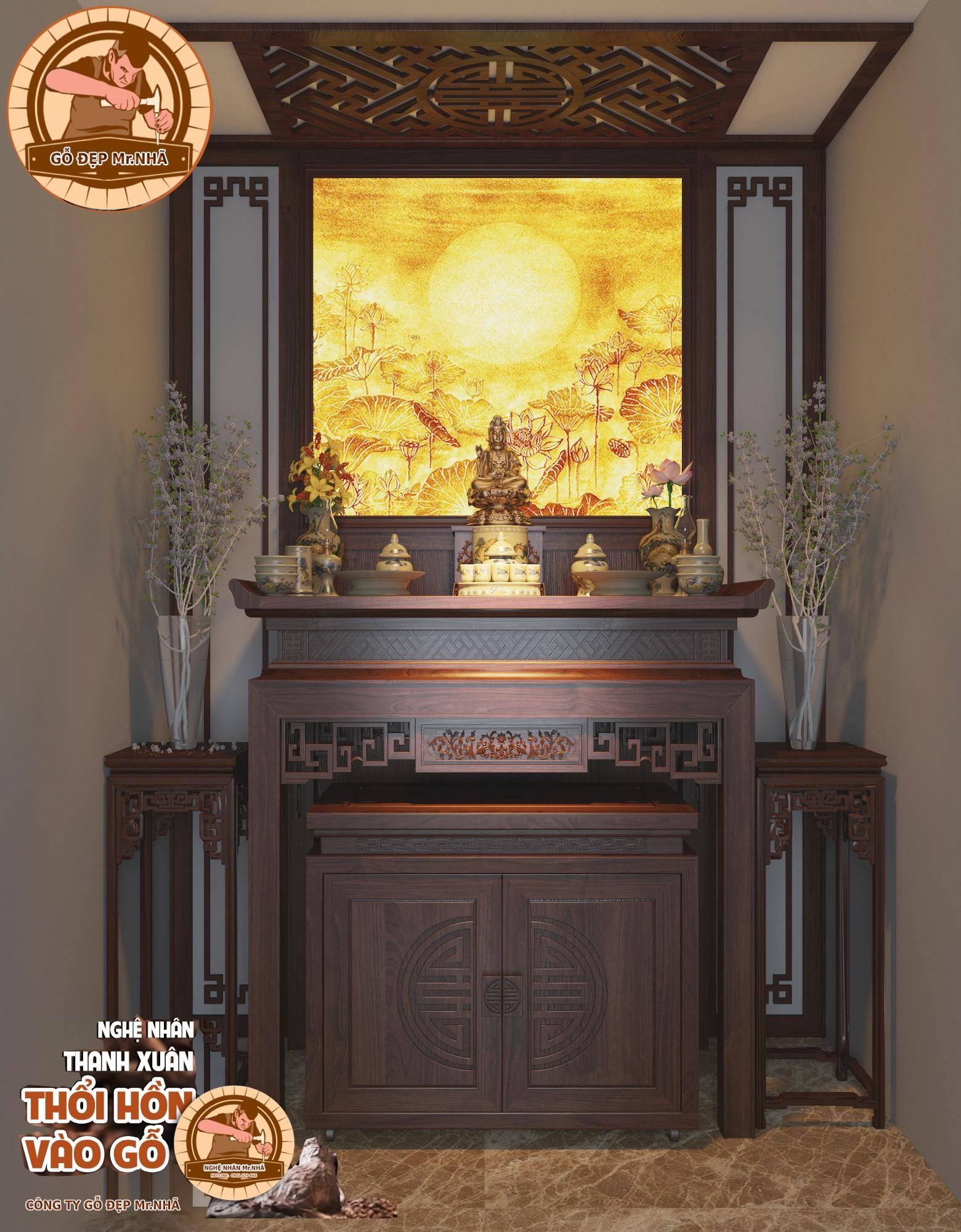 Bàn thờ đứng kết hợp tranh trúc chỉ