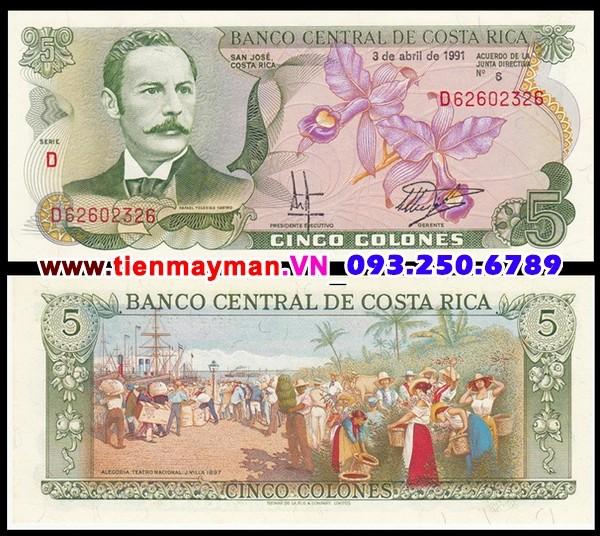 Tiền giấy Costa Rica 5 Colones 1990 UNC
