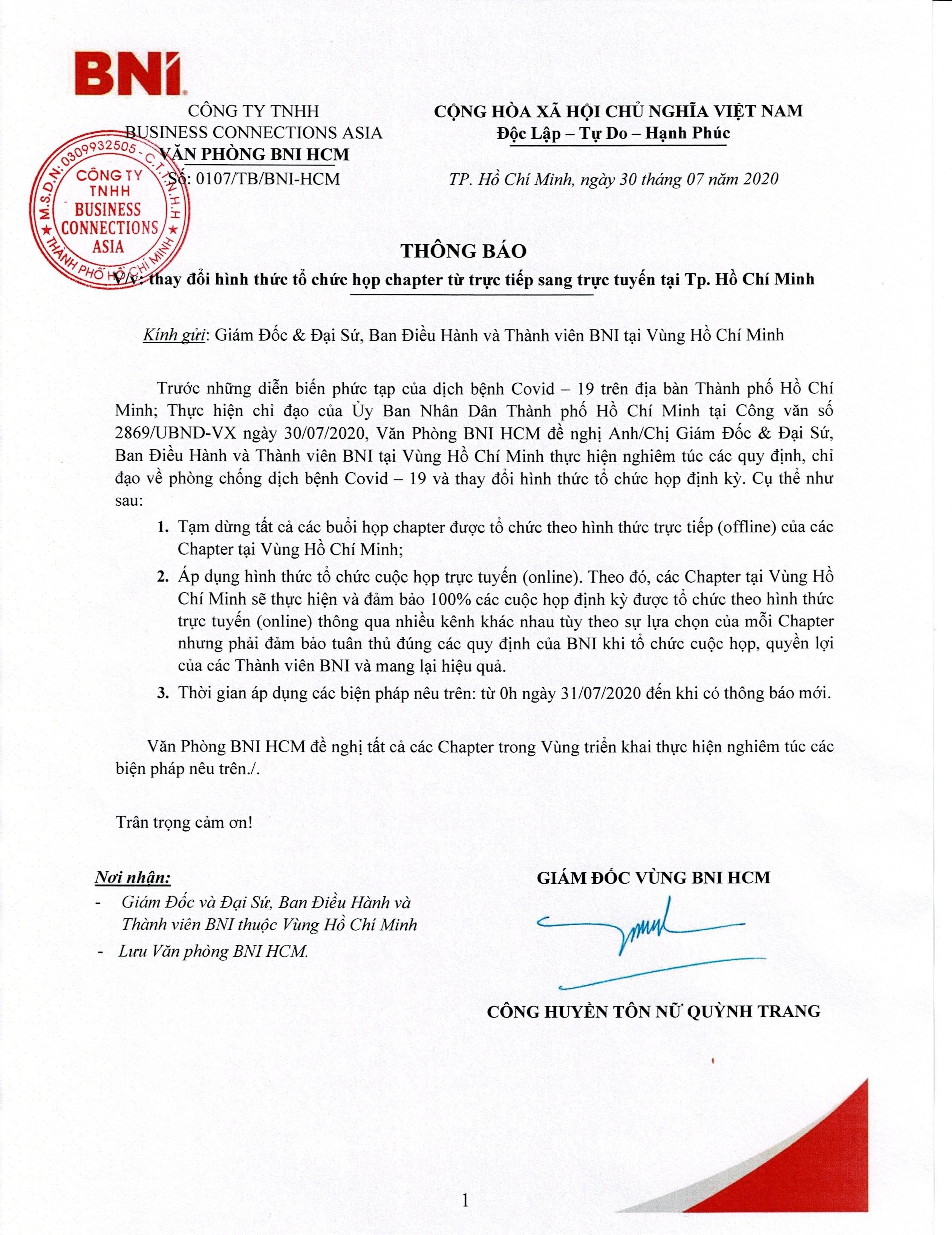 THÔNG BÁO  V/v: thay đổi hình thức tổ chức họp chapter từ trực tiếp sang trực tuyến  tại Tp. Hồ Chí Minh
