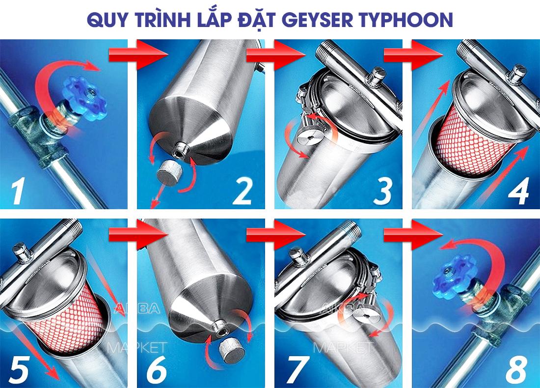 Mô hình lắp đặt Geyser Typhoon 10BB made in Russia