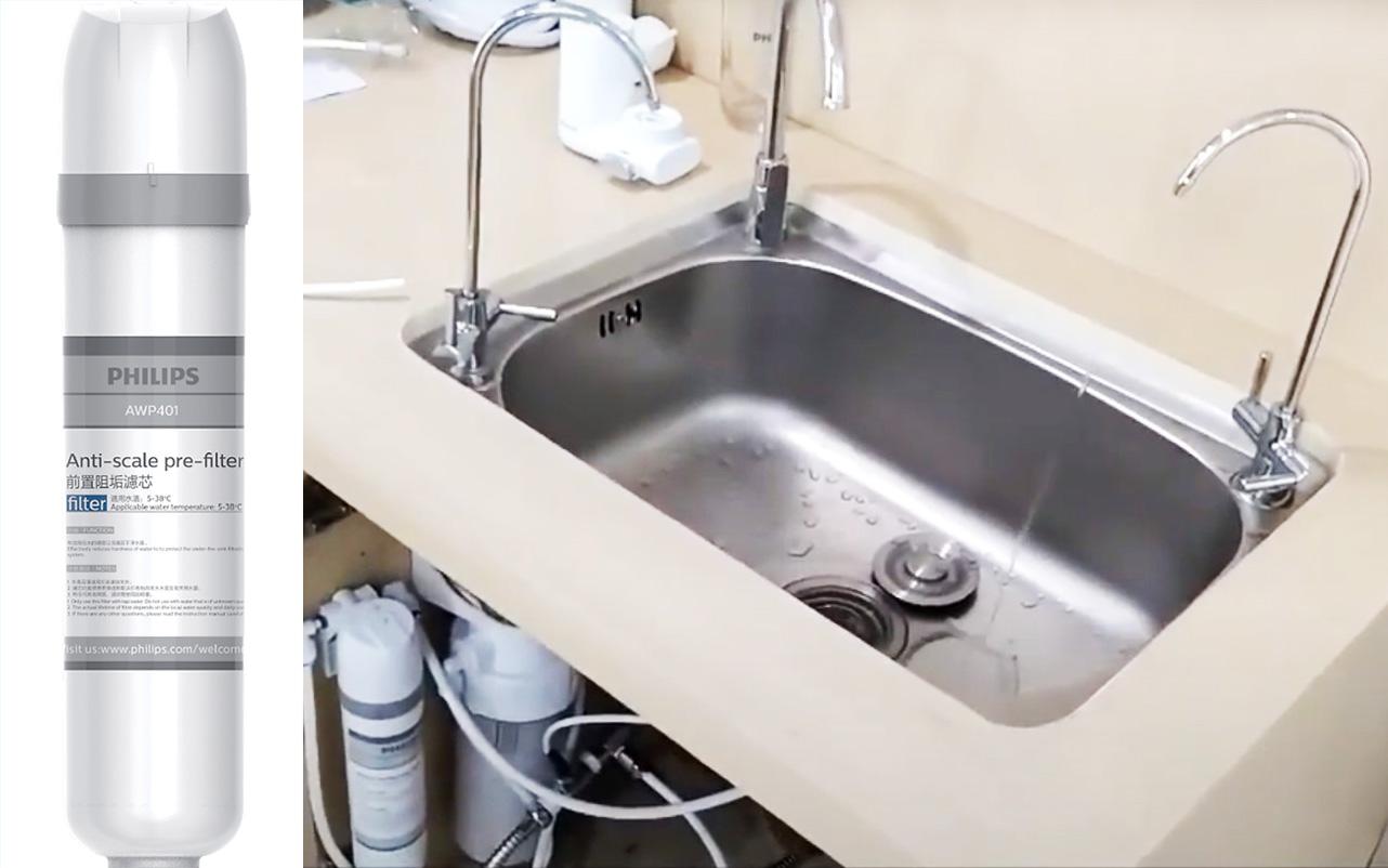 Bộ tiền lọc làm mềm máy nước RO Philips AWP1808 Chính hãng