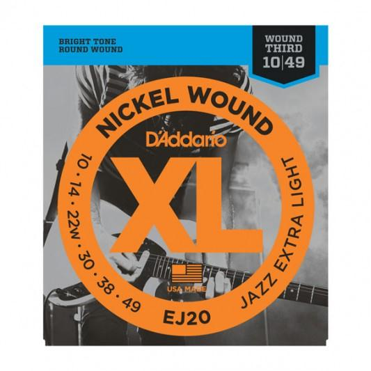 D'ADDARIO EJ20 NICKEL WOUND ELECTRIC GUITAR STRINGS, JAZZEXTRA LIGHT, 10-49