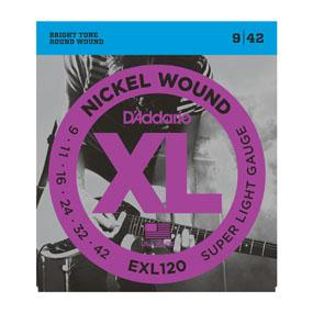 D'Addario EXL120 Nickel Wound, Super Light, 9-42