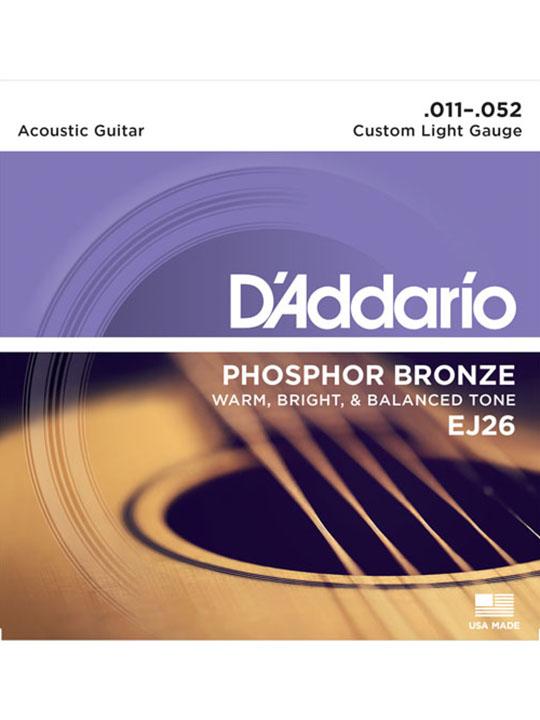 Dây Guitar Acoustic D'Addario EJ26 Phosphor Bronze, Custom Light 11-52