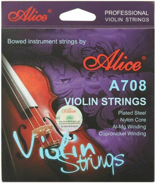 Dây Violin Alice A708 Plated Steel, Nylon Core, Al-Mg Winding, Cupronickel Winding