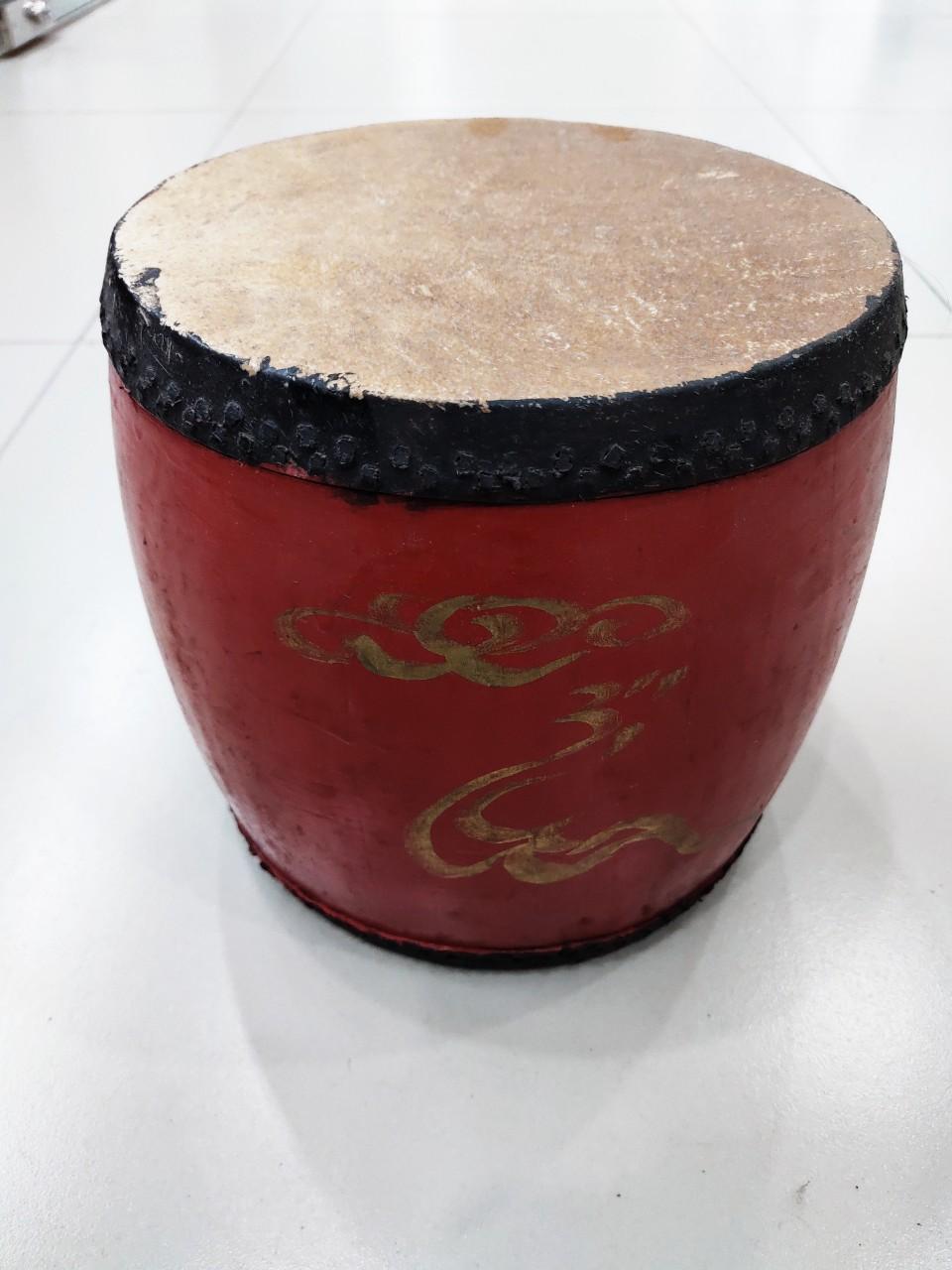 Trống dân tộc - Trống chèo dk20, cao 20 sơn đỏ gỗ lõi Mít