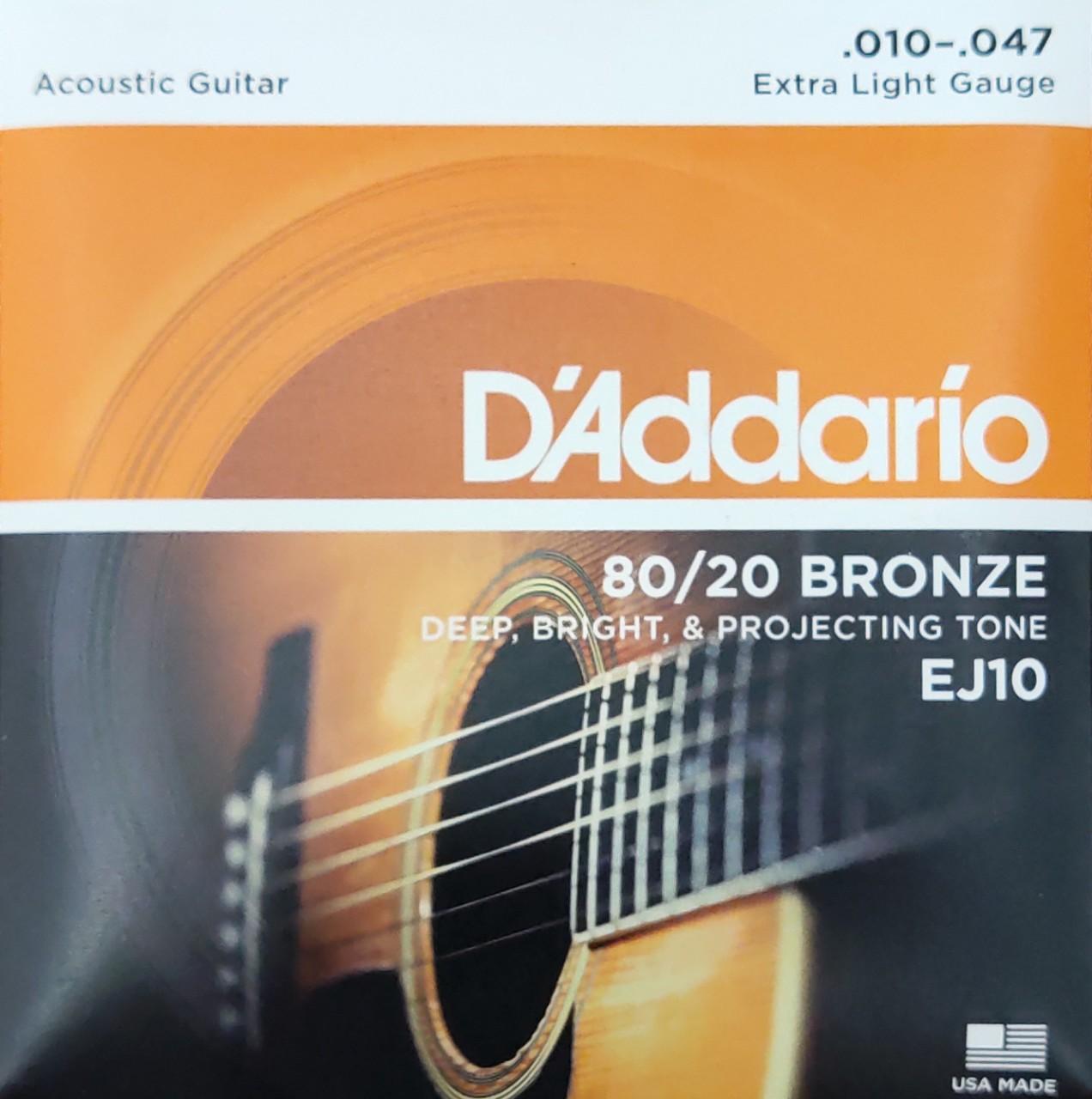 D'ADDARIO EJ10 80/20 BRONZE ACOUSTIC GUITAR STRINGS, EXTRA LIGHT, 10-47