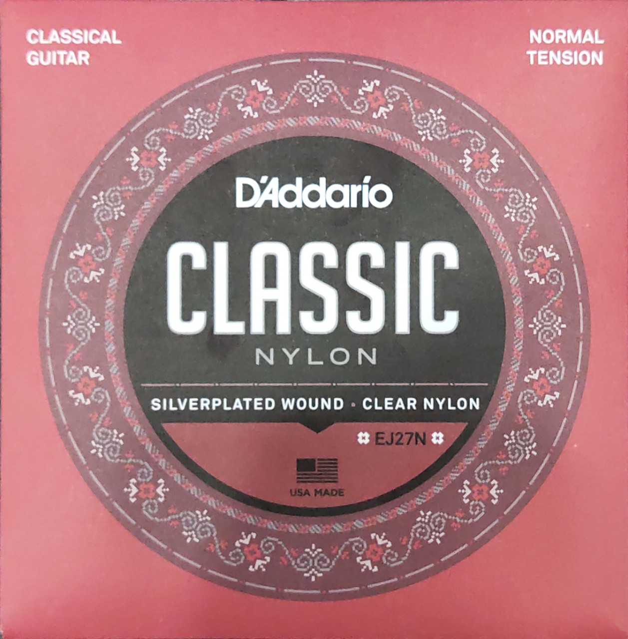 D'ADDARIO EJ27N STUDENT NYLON CLASSICAL GUITAR STRINGS, NORMAL TENSION, CLEAR/SILVERPLATED WOUND