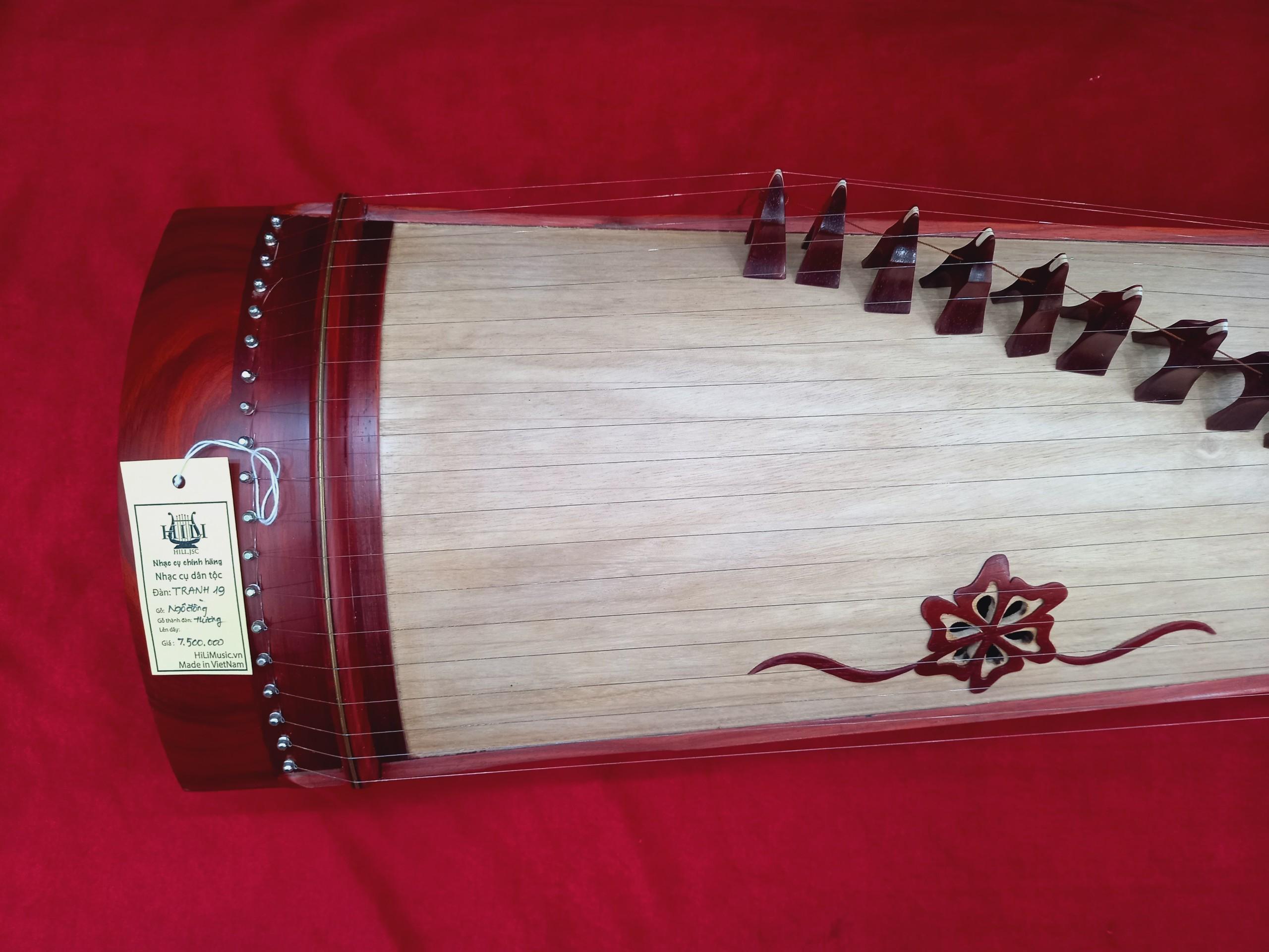 Đàn Tranh gỗ Hương 19 dây cao cấp HiLi TL19HTB