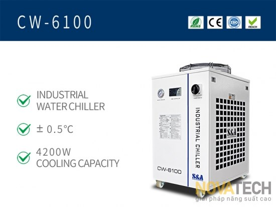 Chiller làm mát máy cắt khắc laser CO2 CW-6100