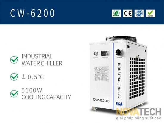 Chiller làm mát máy cắt khắc laser CO2 CW-6200