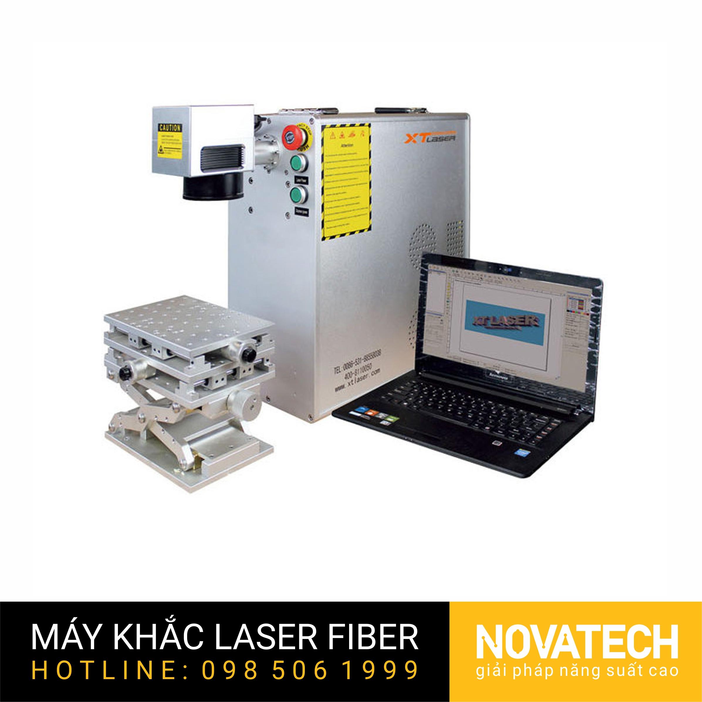 Máy khắc laser fiber 20W kiểu mini cơ động