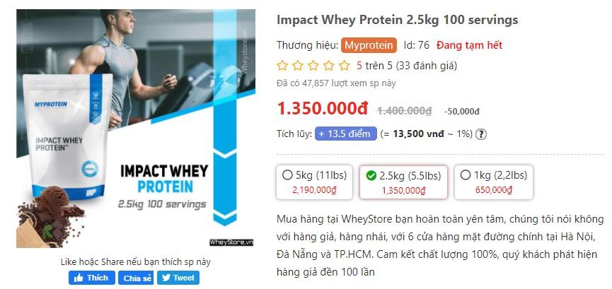 Đánh giá Myprotein có tốt không? So sánh Impact whey protein và Whey Gold Standard
