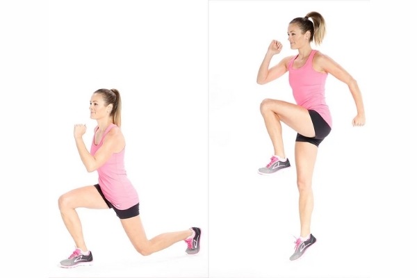 Reverse Lunges With Knee Lift