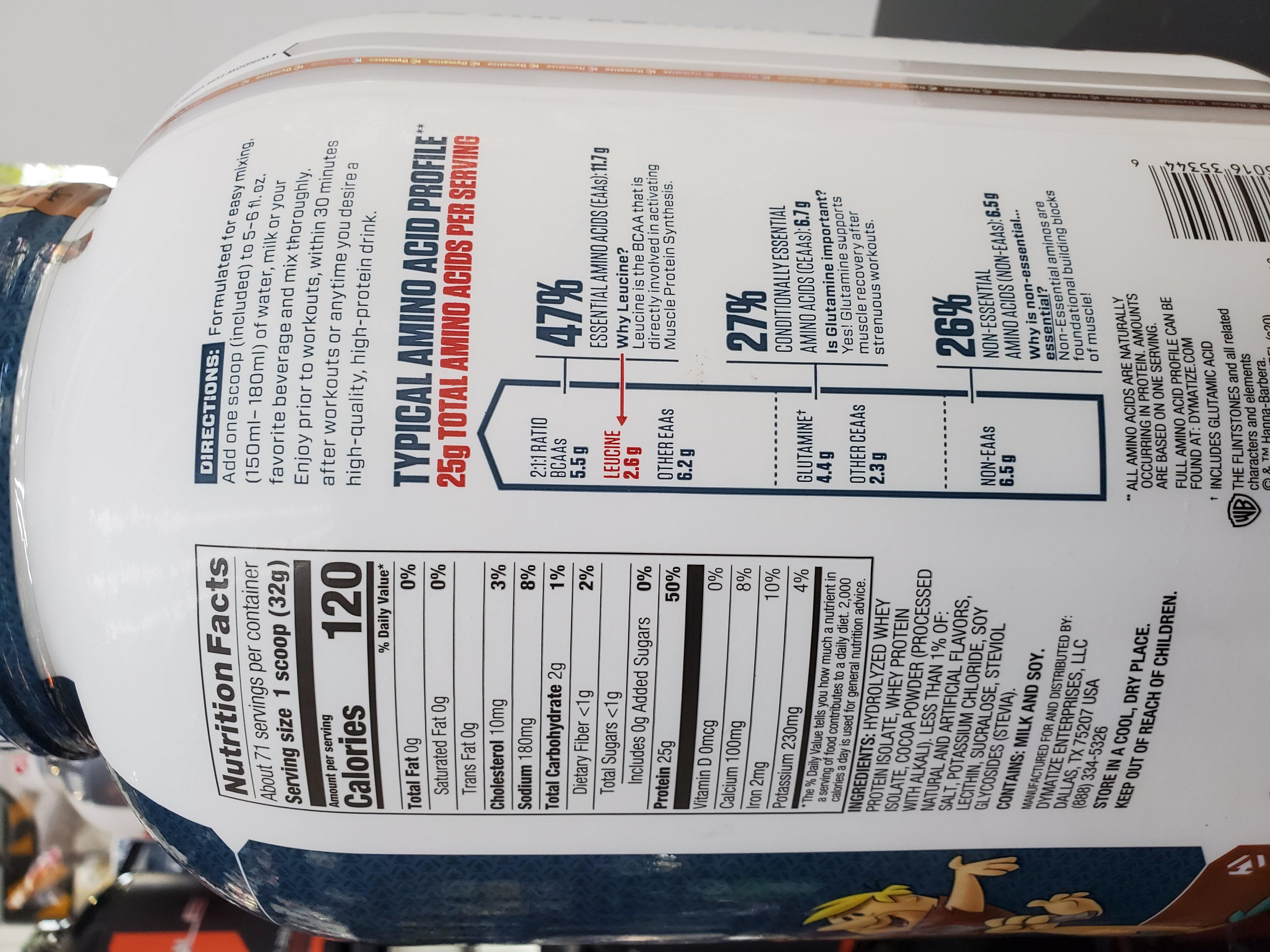 Nutrition Facts ISO 100