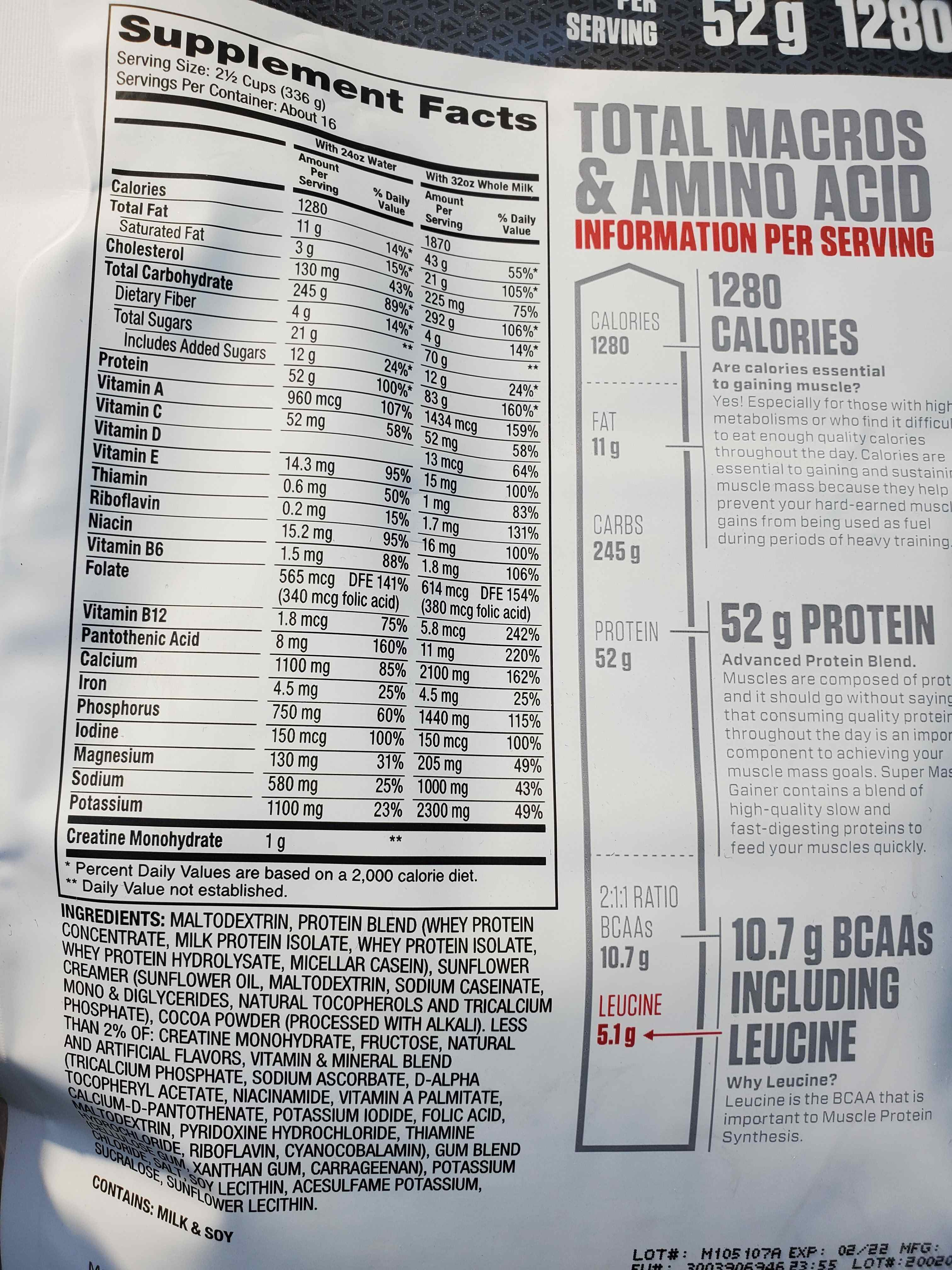 Nutrition Facts Super Mass Gainer 12lbs