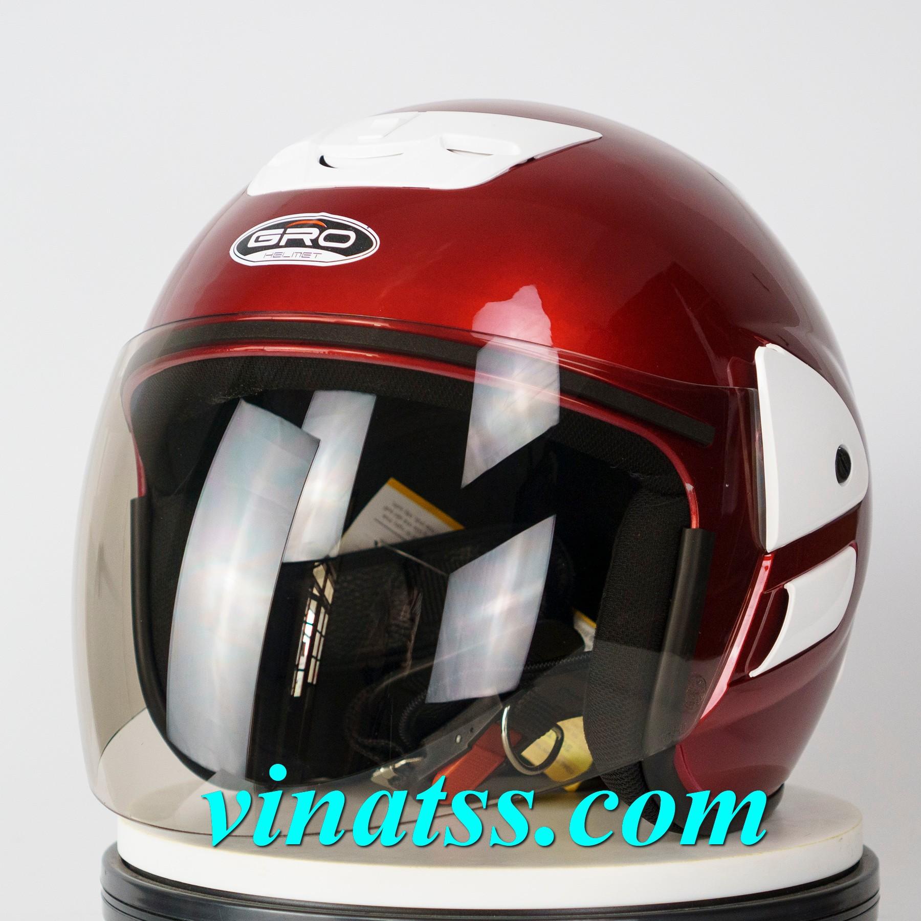 Mũ Bảo hiểm GRO 3/4 đầu - V2 Màu Đỏ Đô