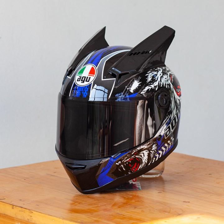 Mũ Bảo Hiểm AGU Full-Face RACING SÓI XANH (Hàng Đặt Trước)