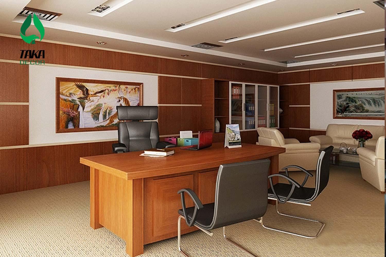 Thi công phòng làm việc bằng tấm ốp tường pvc takadecor