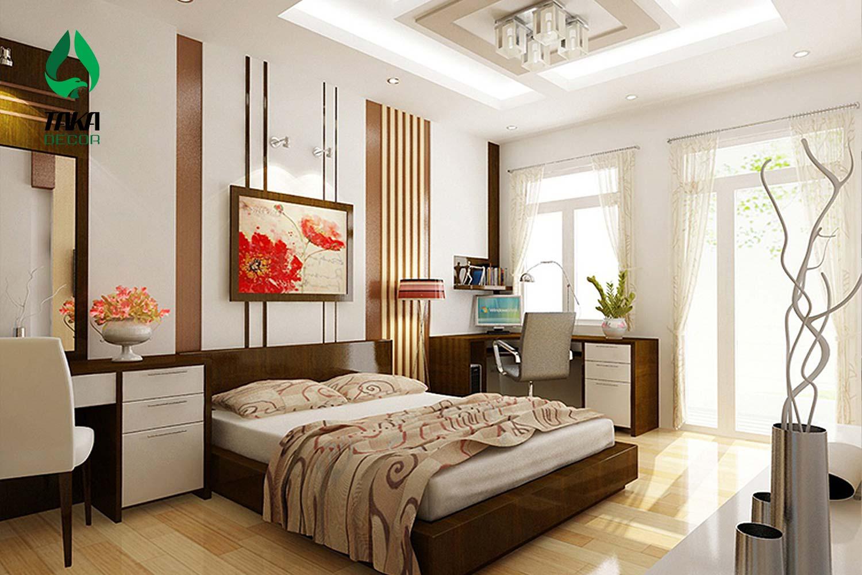 Thi công phòng ngủ bằng tấm ốp tường pvc takadecor
