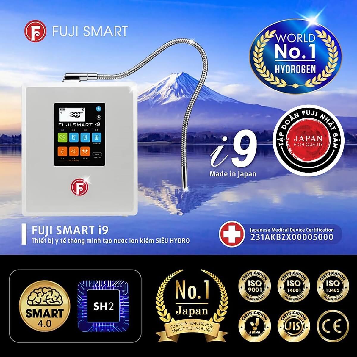 Máy Điện Giải Ion Kiềm Fuji Smart i9 đạt nhiều chứng nhận Quốc tế về chất lượng.