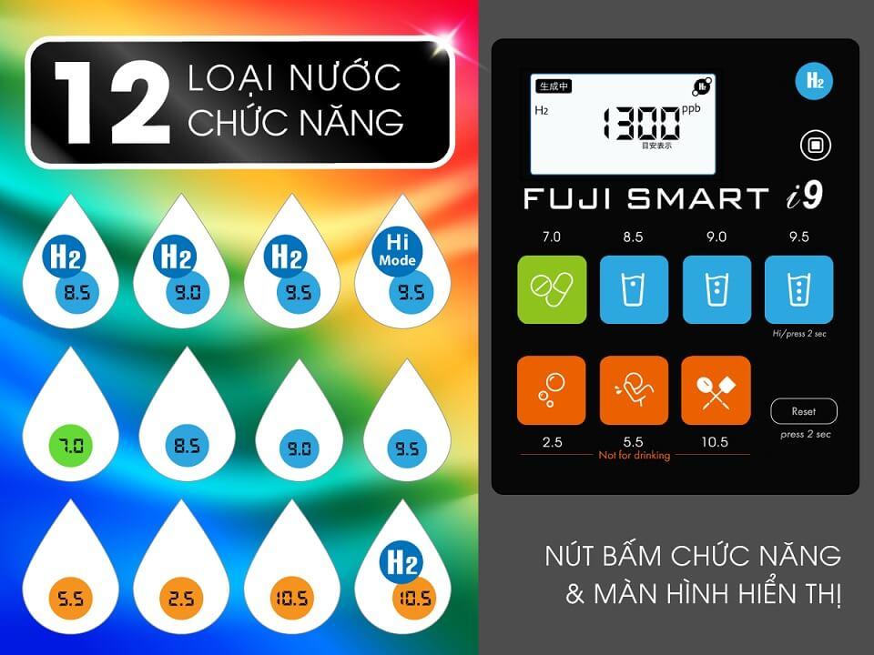 Máy Điện Giải Ion Kiềm Fuji Smart i9 tạo ra 12 loại nước chức năng độ pH từ 2.5 – 10.5