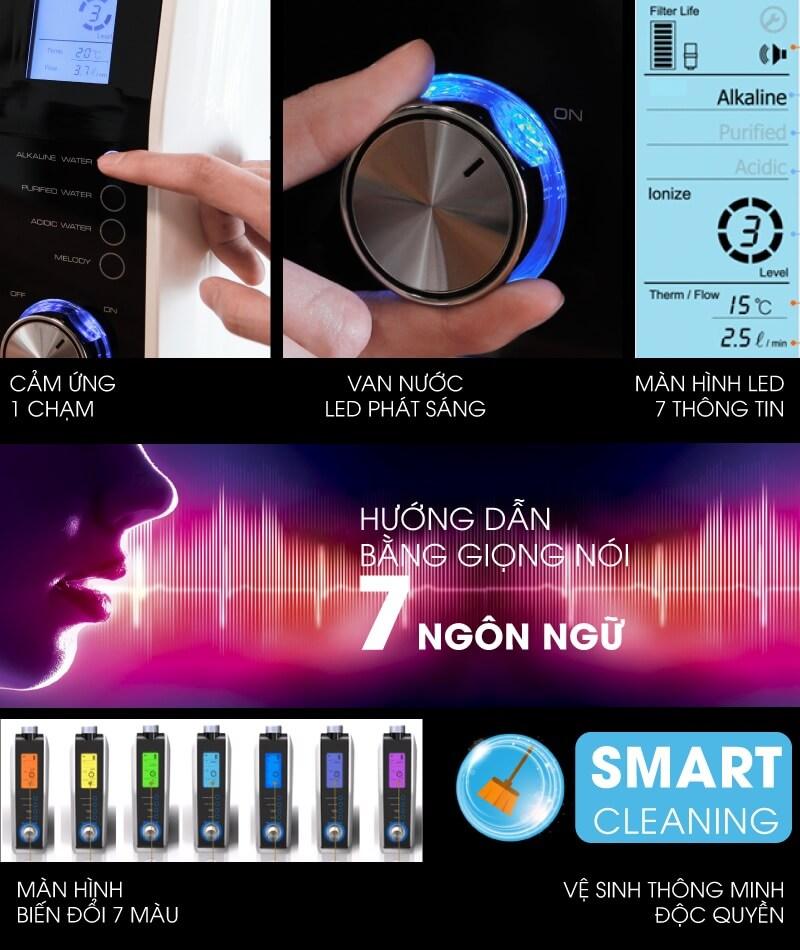 Máy Điện Giải Ion Kiềm Fuji Smart K8 Slim có công nghệ hiện đại, hướng dẫn bằng giọng nói.