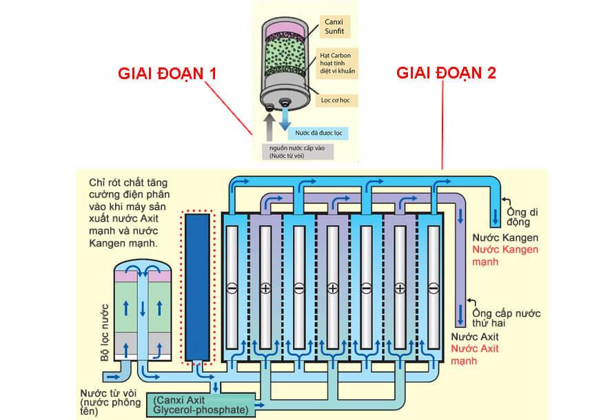2 giai đoạn tạo ra nước Kangen của máy lọc nước Kangen Leveluk Super 501