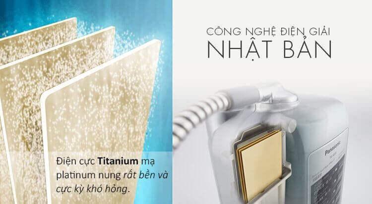 Máy lọc nước Ion kiềm Panasonic TK-AS45 có 3 tấm điện cực Titan cao cấp.
