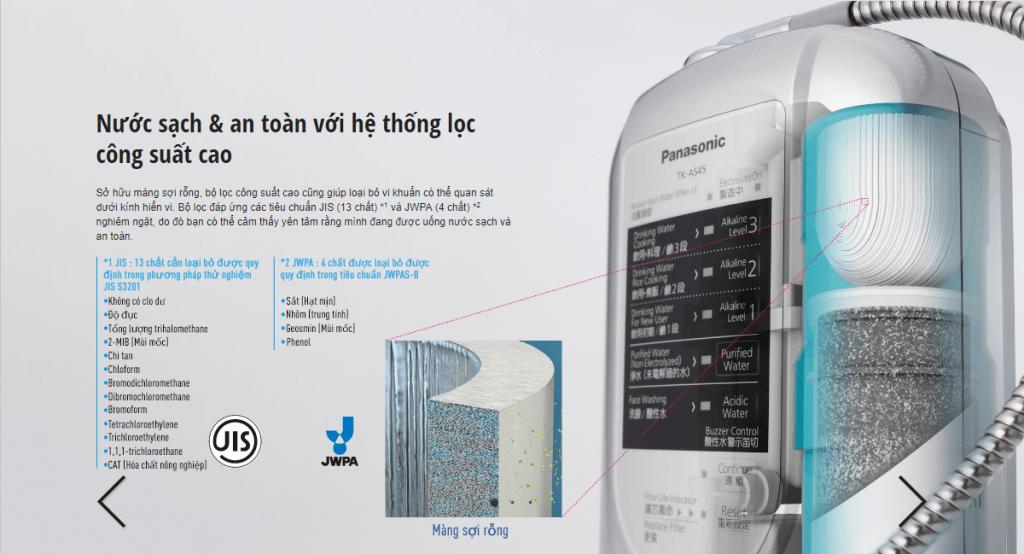 Máy lọc nước Panasonic TK-AS45 lọc sạch 17 loại tạp chất gây hại cho sức khoẻ.