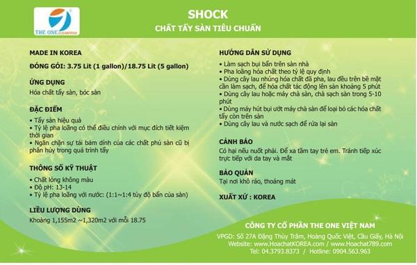 Cách sử dụng SHOCK - Hóa chất tẩy sàn vệ sinh sàn tiêu chuẩn nhập khẩu Hàn Quốc