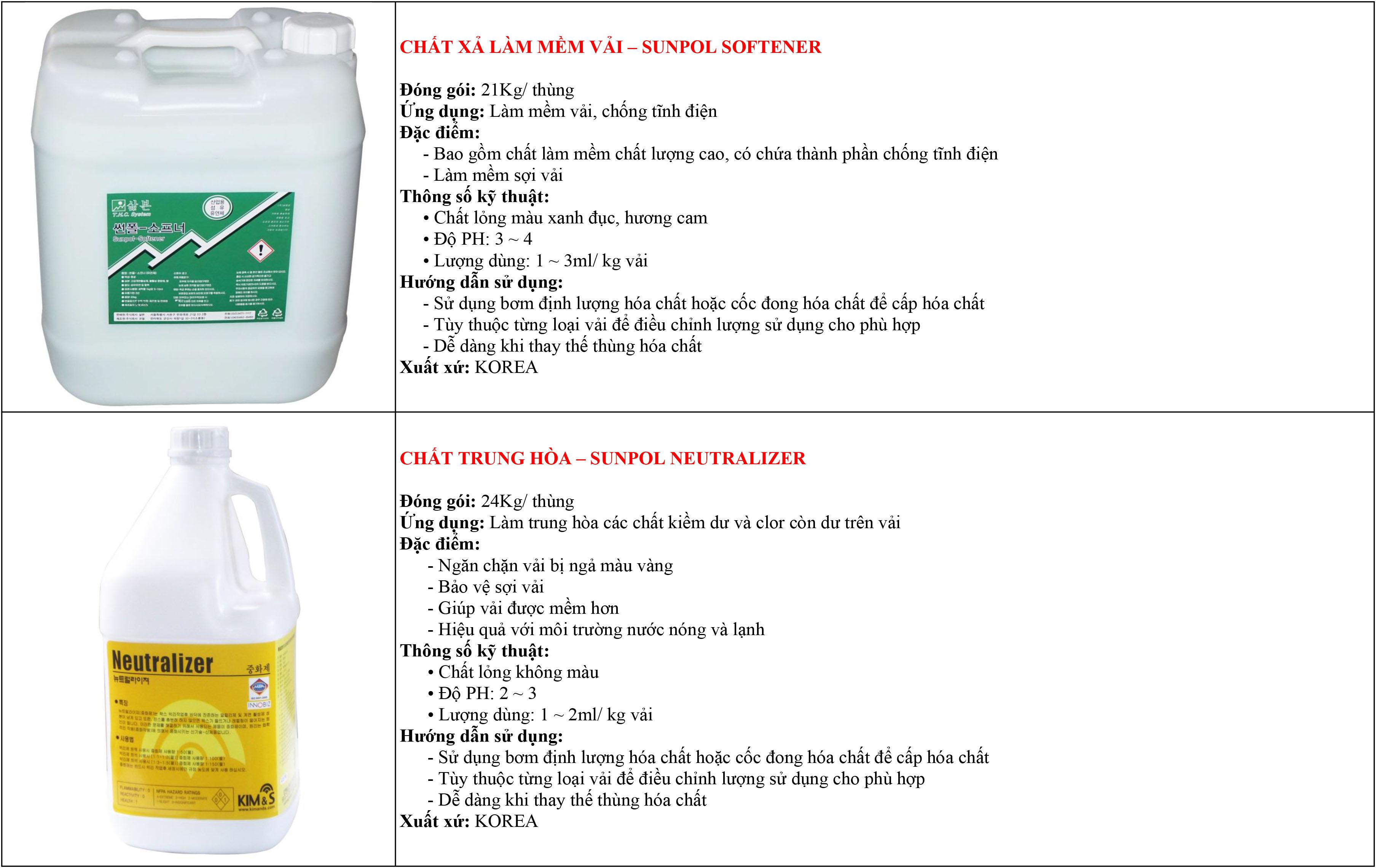ứng dụng hóa chất giặt là hàn quốc