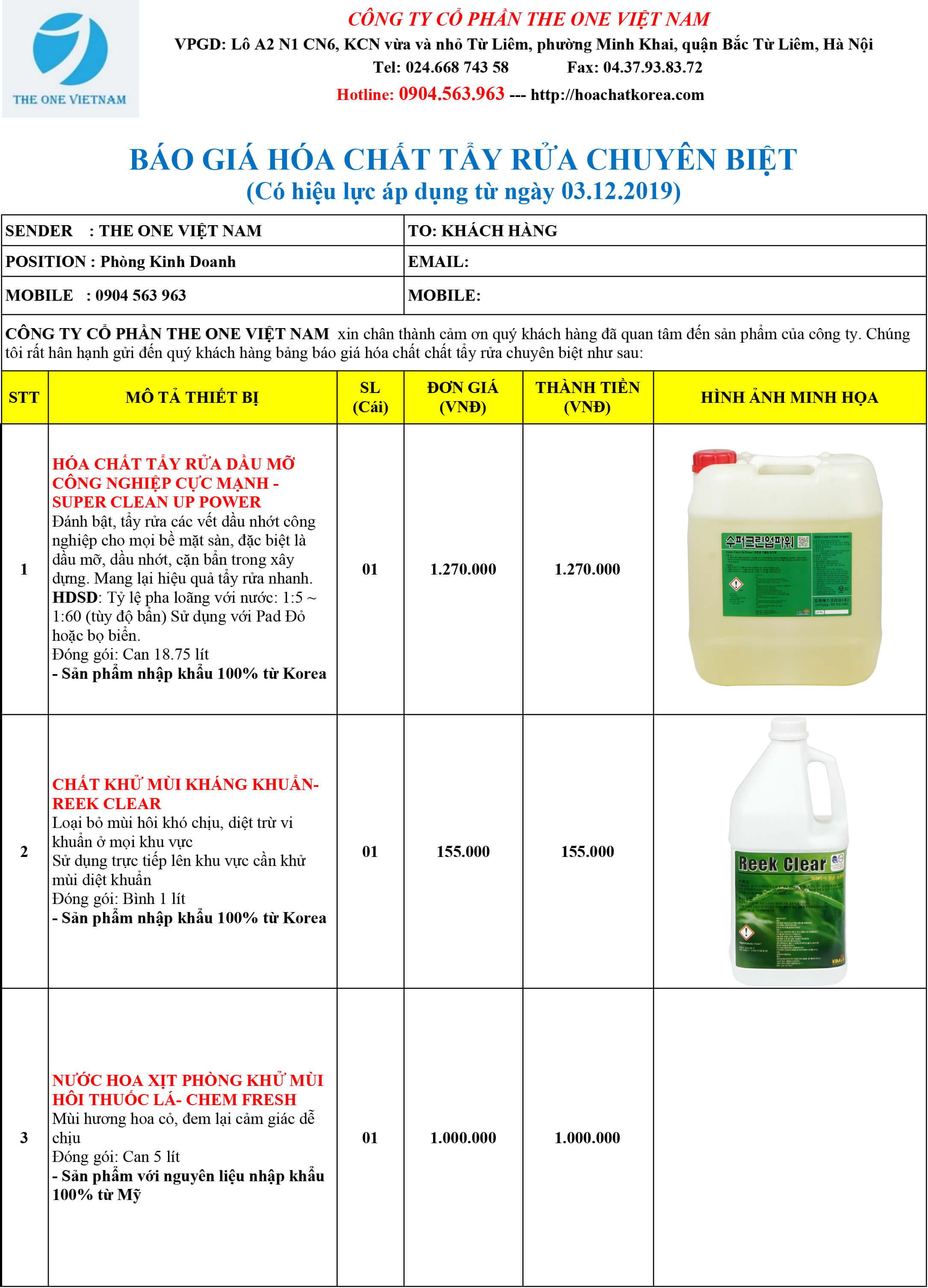 giá hóa chất tẩy rửa chuyên biệt