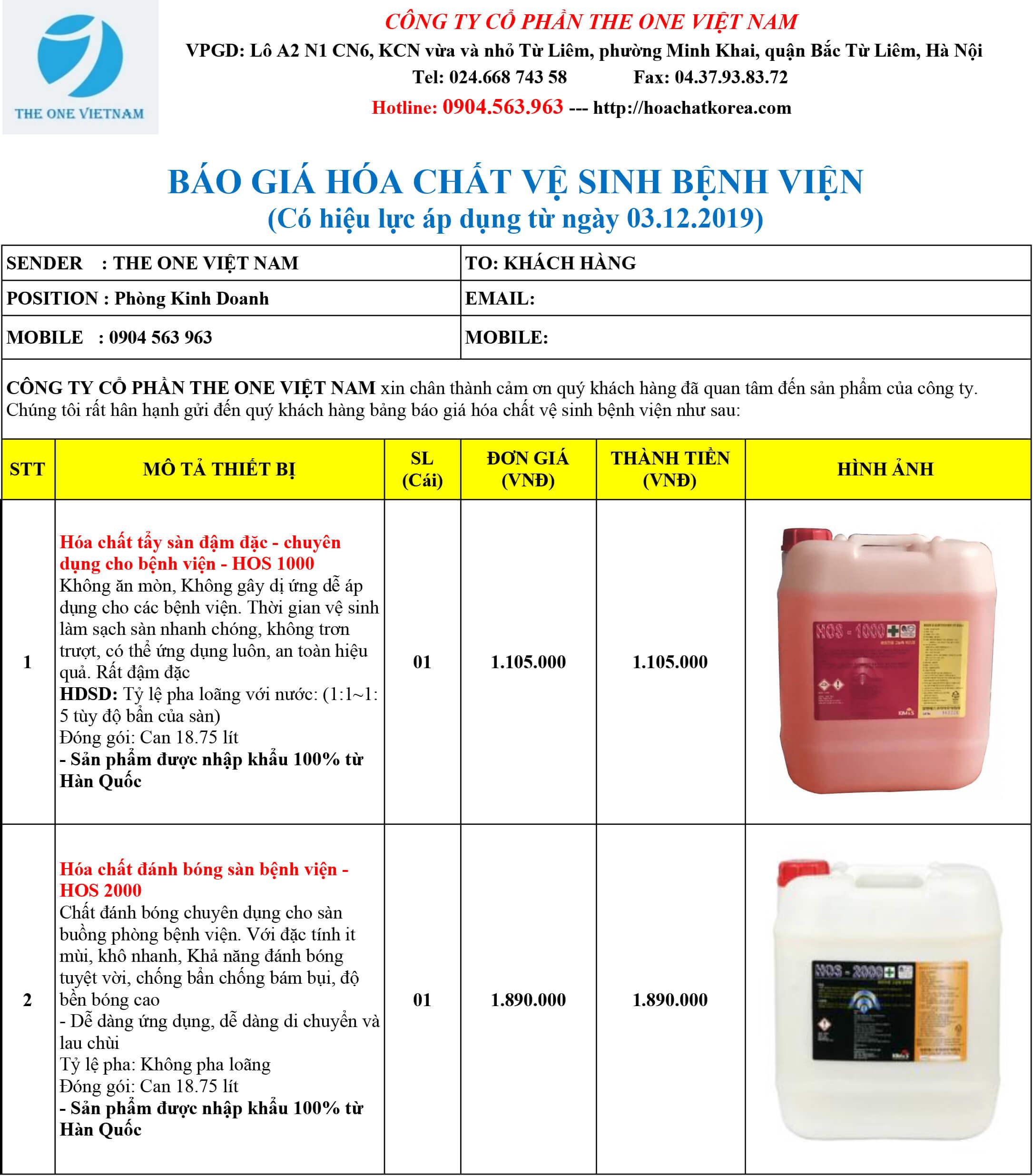 giá hóa chất vệ sinh bệnh viện