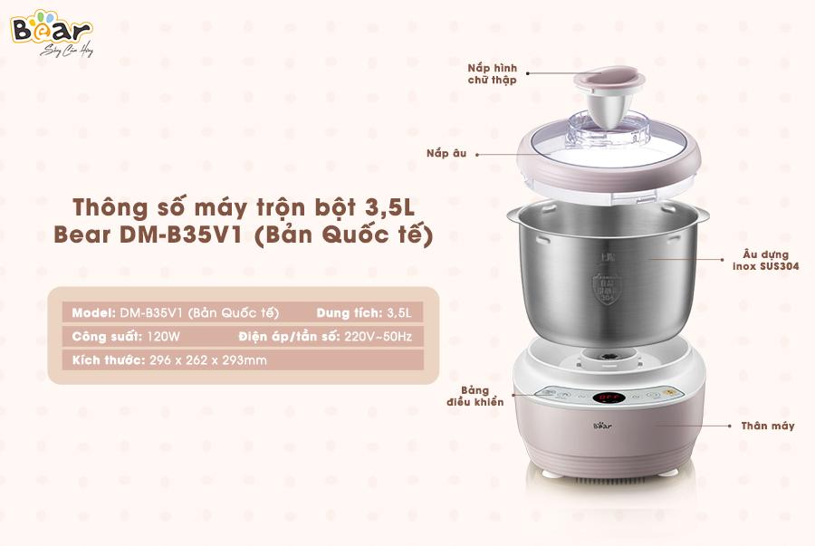 Máy trộn bột 3,5L Bear HMJ-A35M1 (DM-B35V1) - Bảo hành 18 tháng
