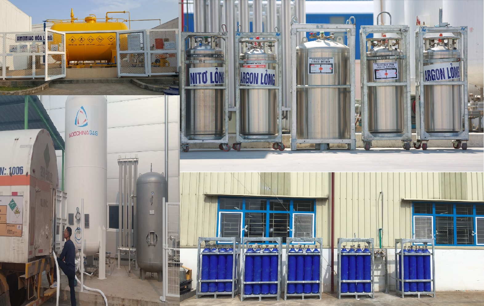 Giải pháp lắp đặt trạm cấp khí tập trung (Gas station), bồn chứa khí CO2 lỏng, Nitơ lỏng (N2), Oxy lỏng (O2), Argon lỏng, Amoniac lỏng (NH3)