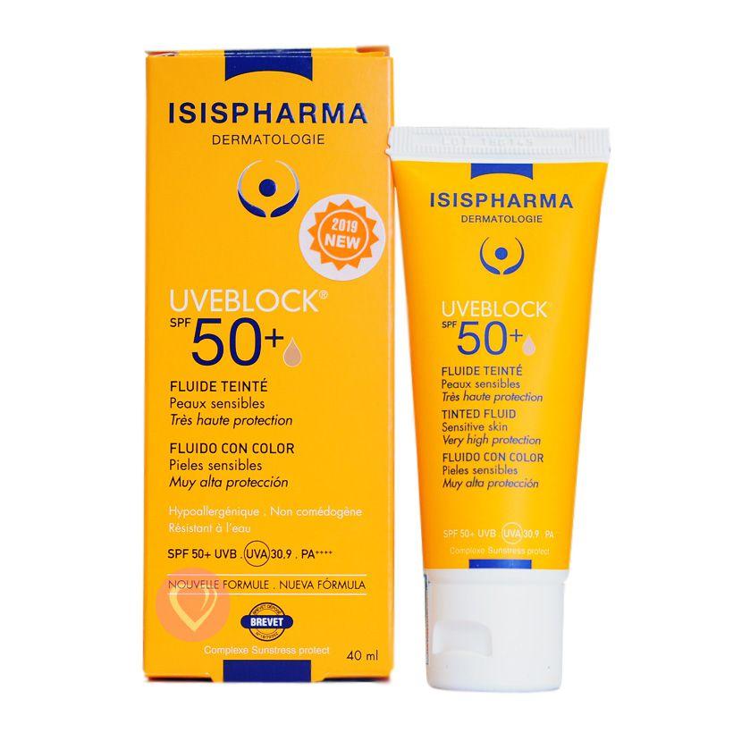 Kem chống nắng màu da, dành cho da nhạy cảm -  Isis Pharma Uveblock SPF50 Tinted Fluid 40ml