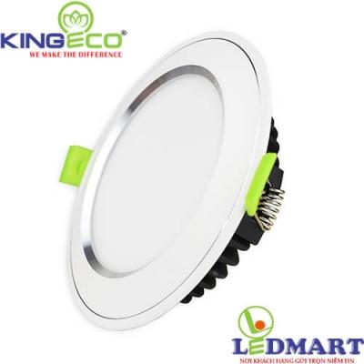 Đèn led âm trần 7W 3 màu viền bạc mặt cong KingEco EC-DLC-7-T120-DM-B